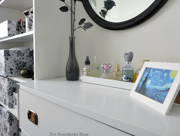 close up of campaign dresser, A Tour of the (mostly) black and white bedroom www.theboondocksblog.com