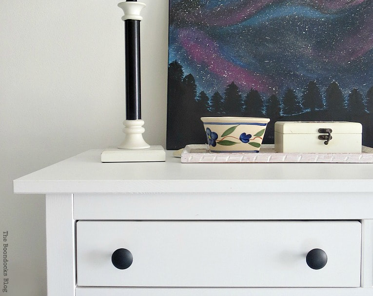 Close up of dresser top, A Tour of the (mostly) black and white bedroom www.theboondocksblog.com