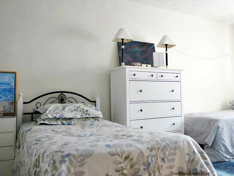Bedroom with two beds a night stand and dresser, A Tour of the (mostly) black and white bedroom www.theboondocksblog.com