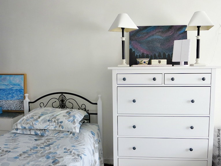Bed and Hemnes dresser, A Tour of the (mostly) black and white bedroom www.theboondocksblog.com