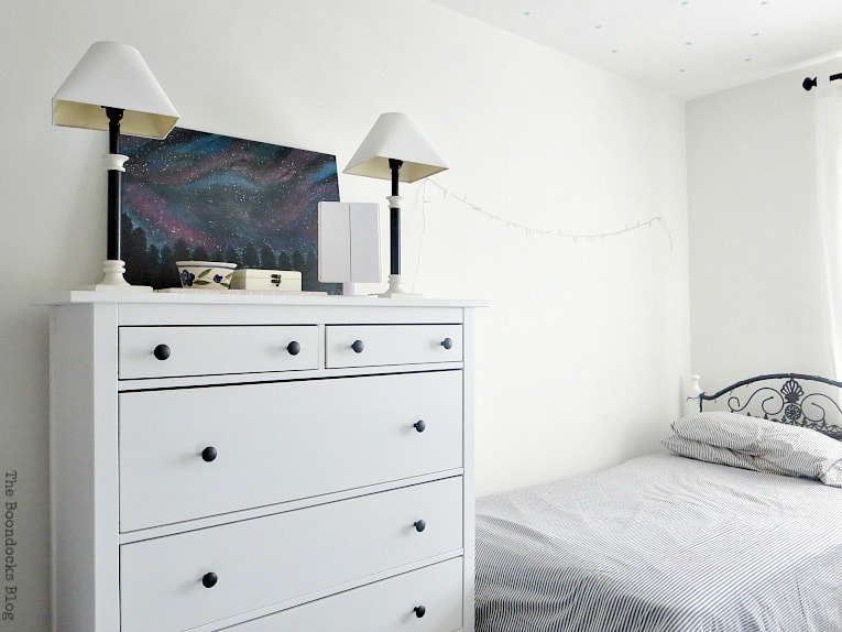 Hemnes dresser and bed with fairy lights, A Tour of the (mostly) black and white bedroom www.theboondocksblog.com
