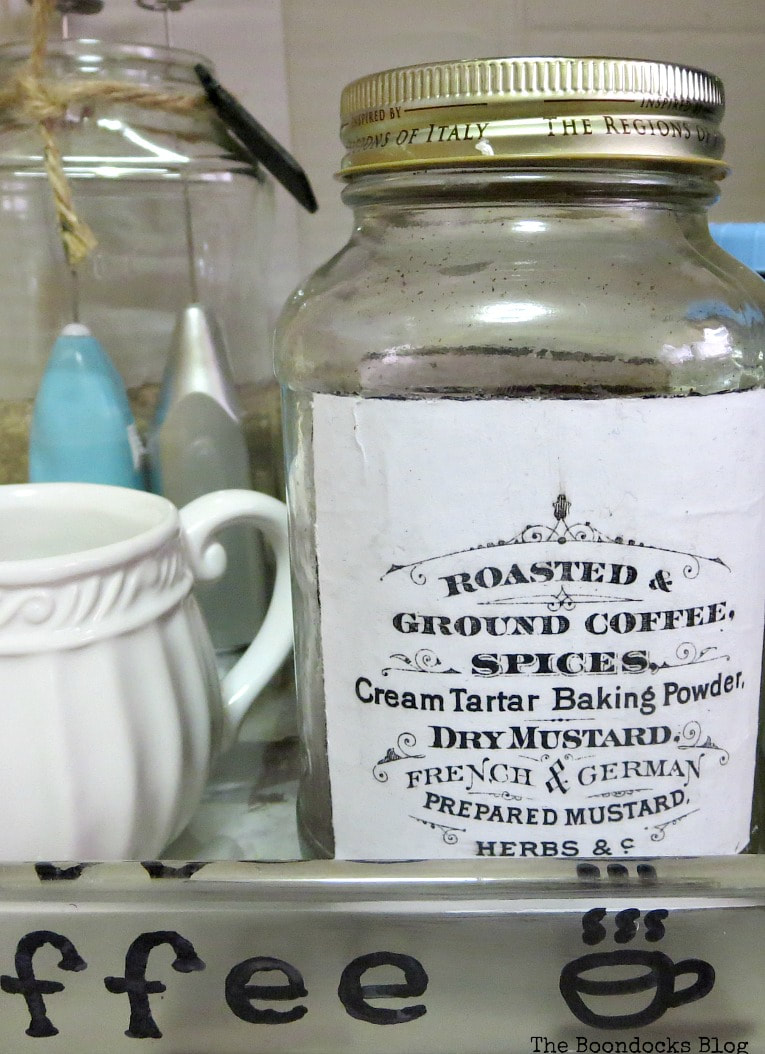 Closeup of image on jar, How to Make a Fun and Sloppy Coffee Station www.theboondocksblog.com