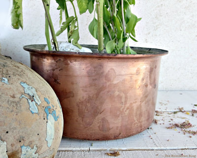 A copper pot repurposed as a planter