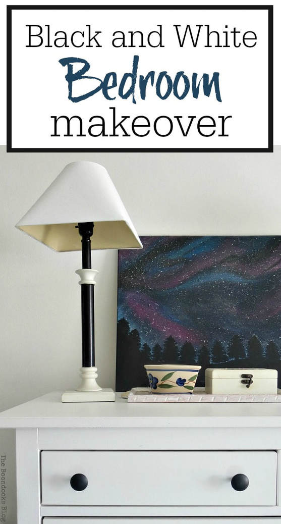 A bedroom makeover with mostly black and white items and upcycled furniture, #paintedfurniture #blackandwhite #frugaldecorating #teengirlbedroom #tranquilbedroom #storagesolutions #ombrewall #spacewall A Tour of the (mostly) black and white bedroom www.theboondocksblog.com
