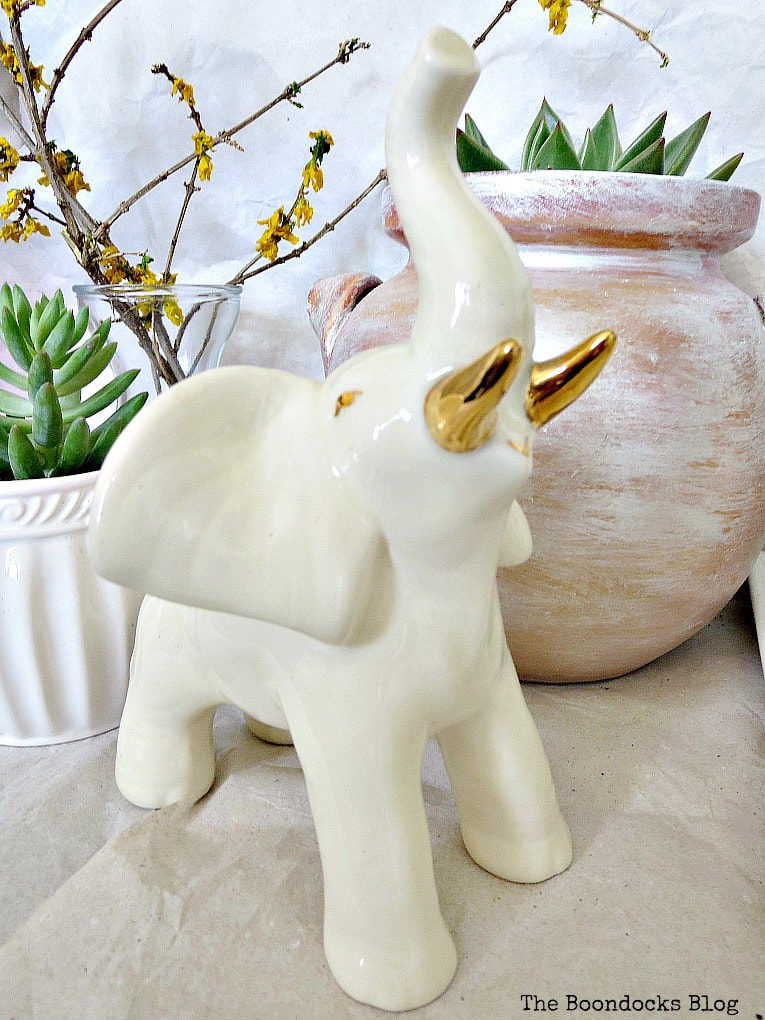 Ceramic ivory elephant, How to Re-Purpose Household Items as Planters, theboondocksblog