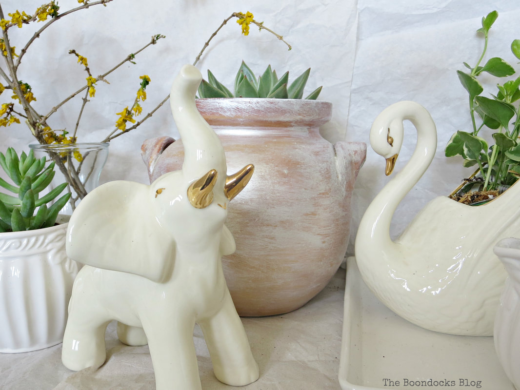 Using household items as planters, and a ceramic elephant, How to Re-Purpose Household Items as Planters, theboondocksblog