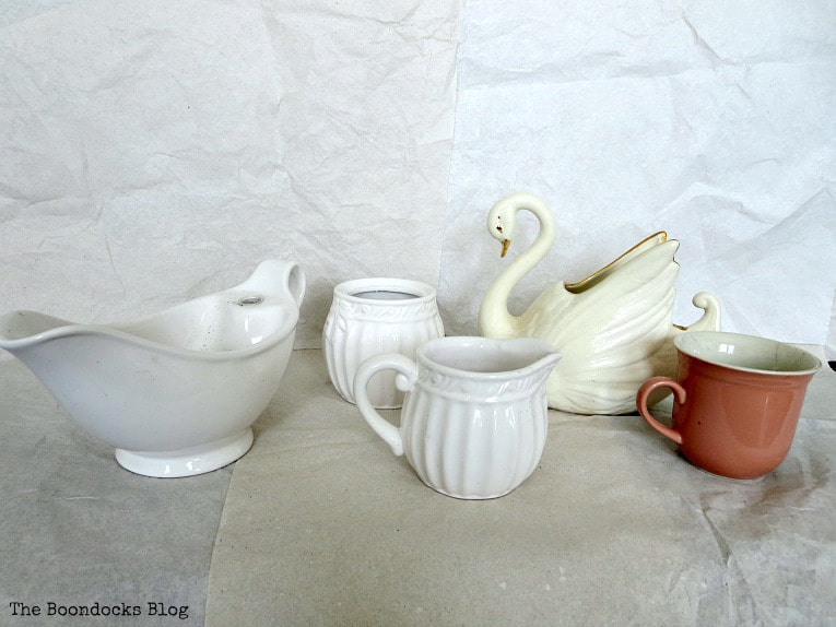 Household items, cup, gravy bowl, sugar and creamer set, ceramic swan, How to Re-Purpose Household Items as Planters, theboondocksblog