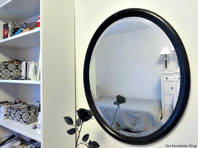 Black painted wood mirror