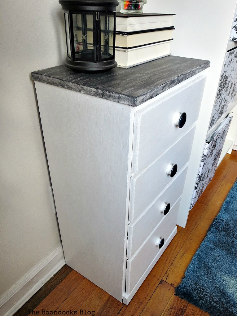 Angled view of night stand, How to Repair and Revive a Tired Night Stand www.theboondocksblog.com