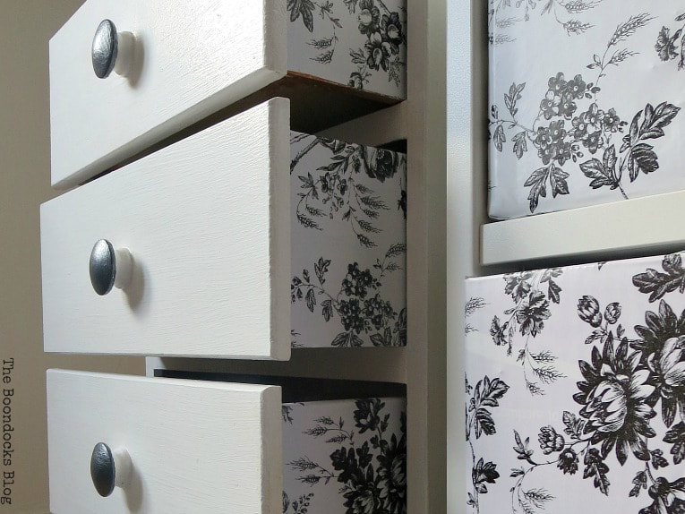 Toile contact paper on sides of drawers, How to Repair and Revive a Tired Night Stand www.theboondocksblog.com