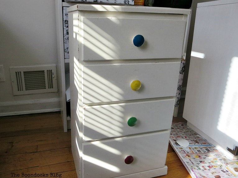 Night Stand with four drawers, How to Repair and Revive a Tired Night Stand www.theboondocksblog.com