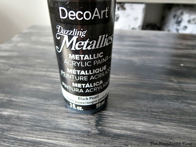 Metallic black acrylic paint, How to Repair and Revive a Tired Night Stand www.theboondocksblog.com