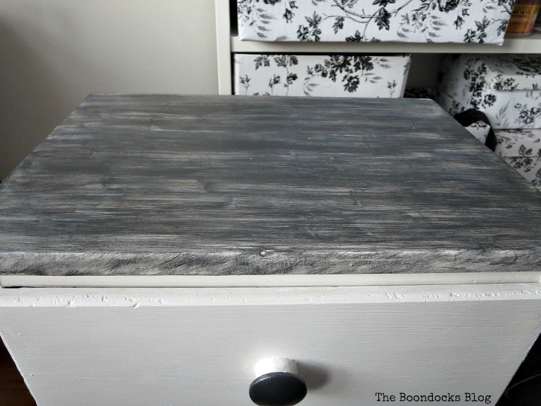 Painted top in metallic pearl black, How to Repair and Revive a Tired Night Stand www.theboondocksblog.com