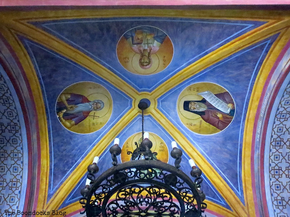 Arched ceiling with icons in vivid colors, Admiring the Interior of Saint Andrew's Cathedral www.theboondocksblog.com
