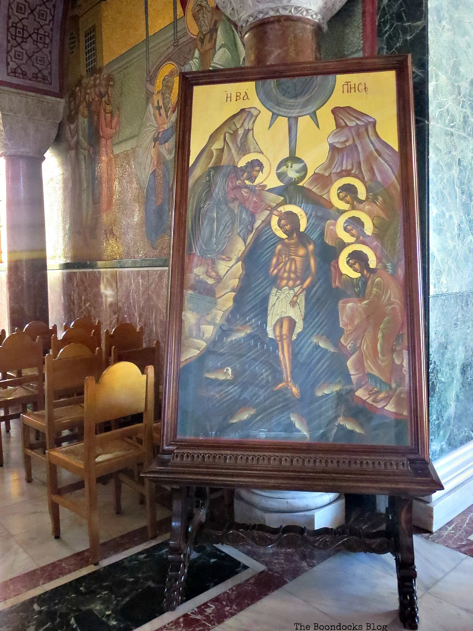 A large Icon of Christ being Baptized, Admiring the Interior of Saint Andrew's Cathedral www.theboondocksblog.com