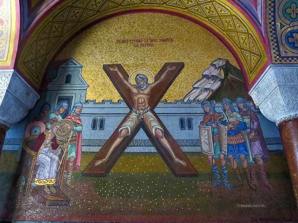 Mosaic on the wall of St. Andrew on the cross, Admiring the Interior of Saint Andrew's Cathedral www.theboondocksblog.com
