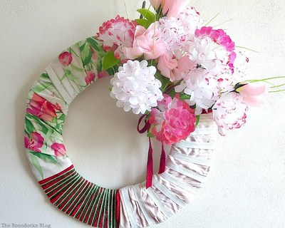 Fabric wreath with faux flowers