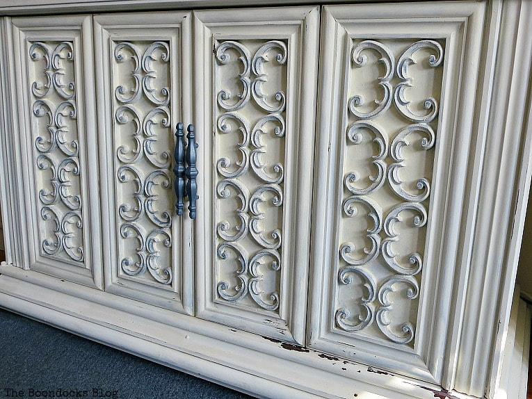 Finished TV Cabinet #furnituremakeover #Vintagefurniture #SeventiesTVCabinet #OldFashionedMilkPaint #TVCabinetasstorage #ScrollworkonTVCabinet How to Revive a Vintage TV Cabinet www.theboondocksblog.com
