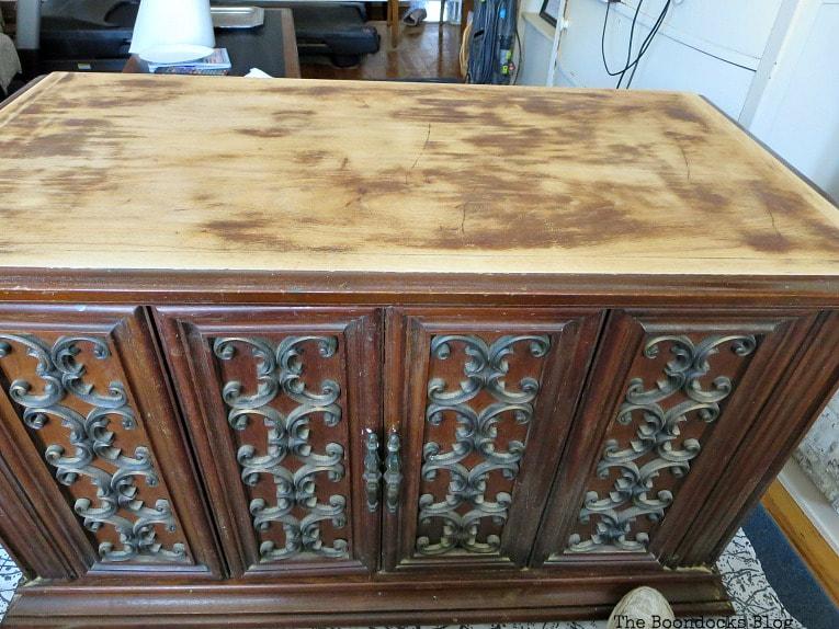 wooden top of cabinet sanded, How to Revive a Vintage TV Cabinet www.theboondocksblog.com