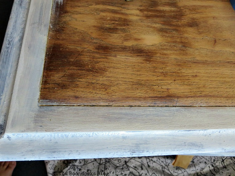 Painting the top edges with milk paint, How to Revive a Vintage TV Cabinet www.theboondocksblog.com