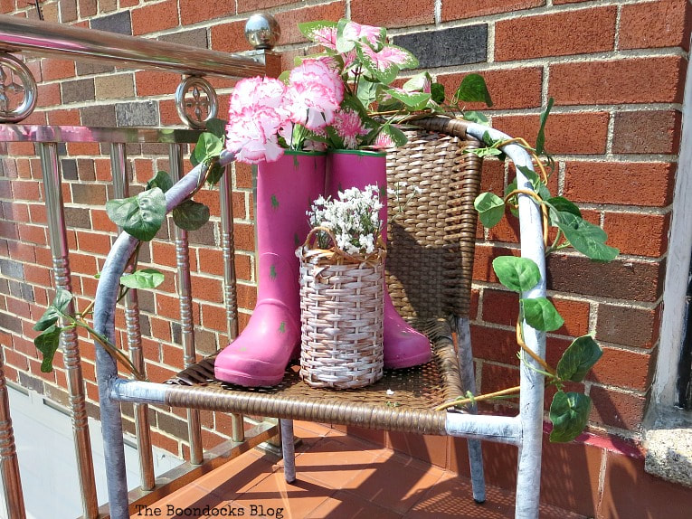 Rattan chair with boots and wicker bottle holder, How to re-purpose a torn rattan chair, www.theboondocksblog.com