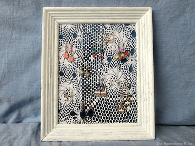 Earring organizer with Doily and frame