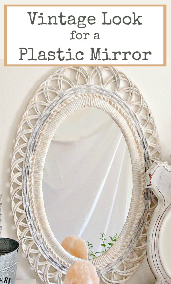 Vintage look, shabby chic mirror transformed with paint, #Mirrorframemakeover #Shabbychicmirror #Vintagelookmirror #chalkyfinishpaint #paintingoverplastic #easyupcycle How to Save a Plastic Mirror from the Yard Sale www.theboondocksblog.com