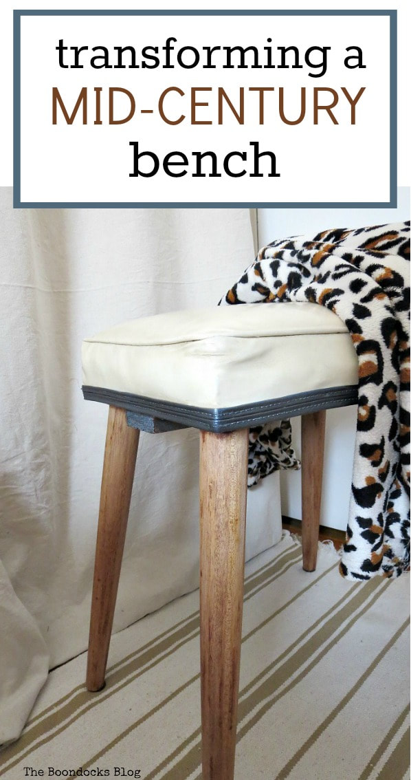 A bench makeover with a sander and paint, #Midcenturymodernbench #furnituremakeover #midcenturylegs #Vinylbench #furniturerefresh The Not So Simple Transformation of a Bench, www.theboondocksblog.com