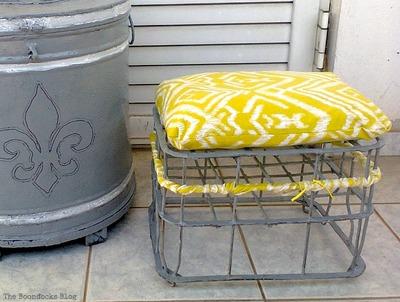 metal milk crate as stool