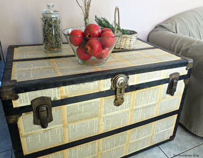 Decoupaged metal trunk