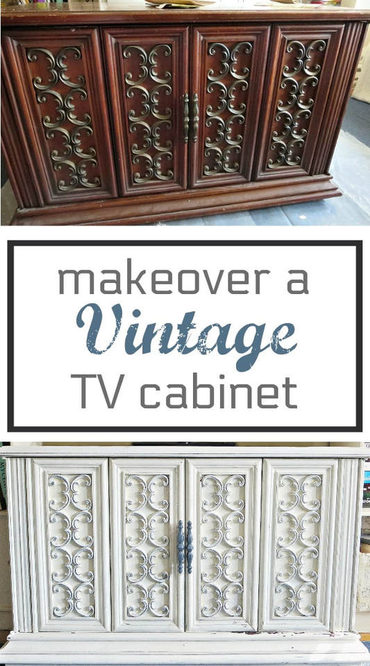 How to Makeover a Seventies Vintage TV Cabinet for storage, #furnituremakeover #Vintagefurniture #SeventiesTVCabinet #OldFashionedMilkPaint #TVCabinetasstorage #ScrollworkonTVCabinet How to Revive a Vintage TV Cabinet www.theboondocksblog.com