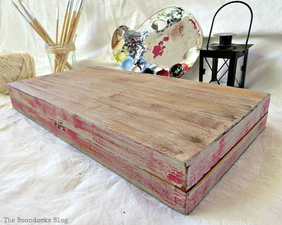 laminate box painted with acrylic paint and chalky finish paint.