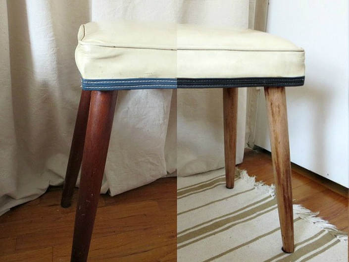 before and after side by side, #Midcenturymodernbench #furnituremakeover #midcenturylegs #Vinylbench #furniturerefresh The Not So Simple Transformation of a Bench, www.theboondocksblog.com