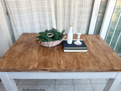 Laminate table painted with gel stain