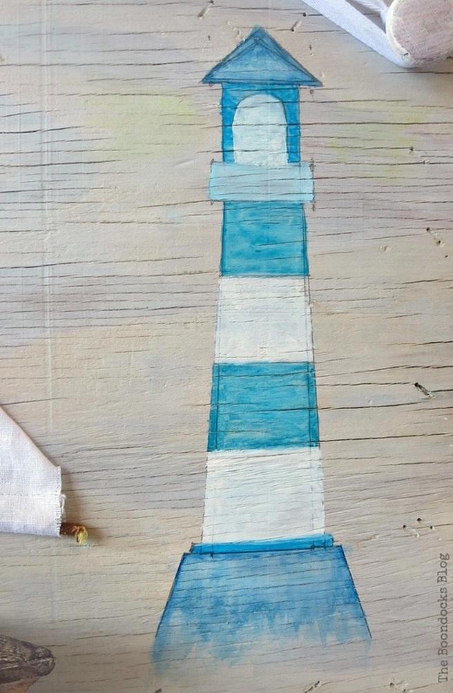 the lighthouse, Seaside Art from a hidden treasure in the dresser / www.theboondocksblog.com