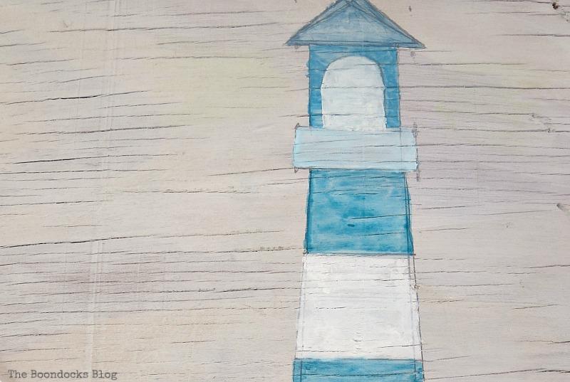 Watercolor lighthouse, Seaside Art from a hidden treasure in the dresser / www.theboondocksblog.com