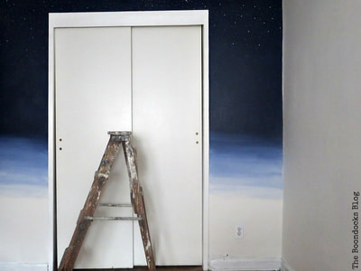 Ombre wall with white closet doors