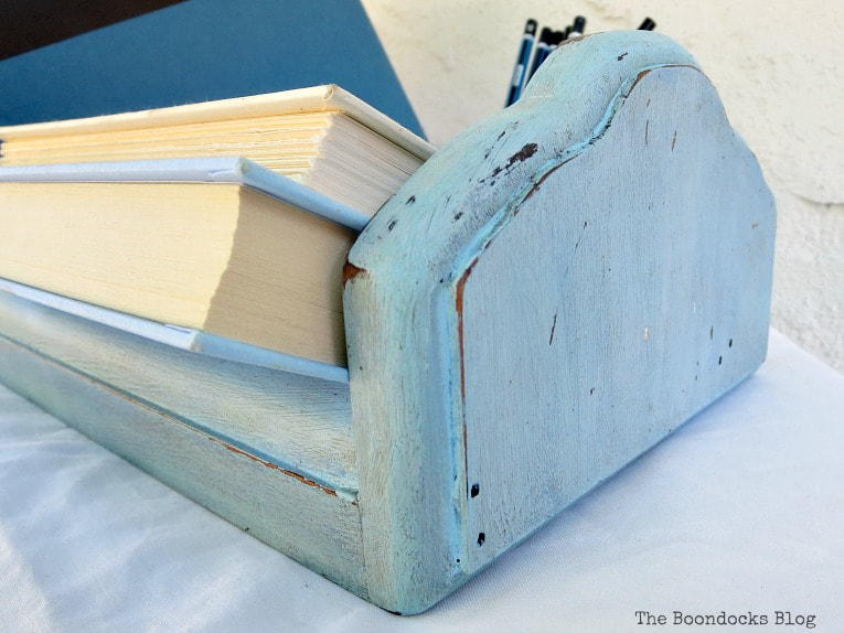 making it look old and grungy with distressing and black wax, What is a Vintage Book Trough and how to make it fun www.theboondocksblog.com