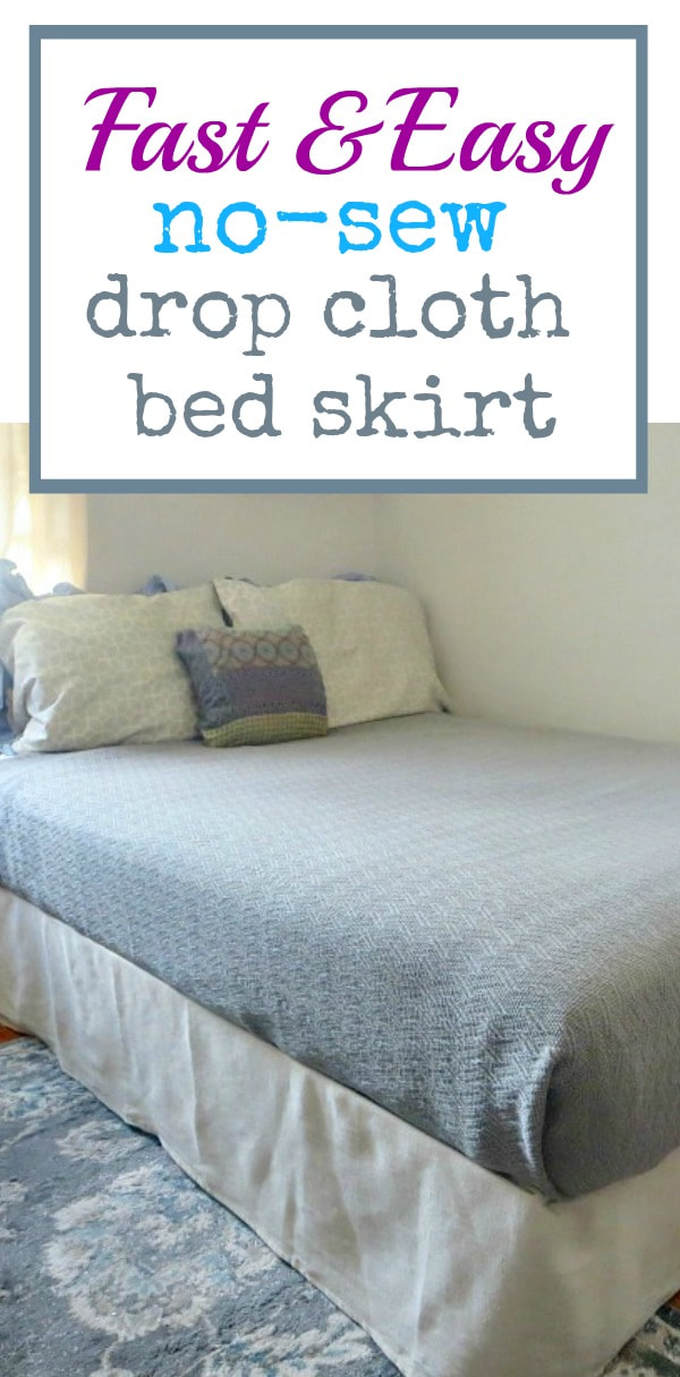 How to make a fast and easy no-sew canvas drop cloth bed skirt and create under the bed storage space, #canvasdropcloth #bedskirt #fabric #storagesolutions #bedrisers #dropclothbedskirt #fastandeasysolution, How to Make an Easy No-Sew Bed Skirt with Drop Cloth www.theboondocksblog.com