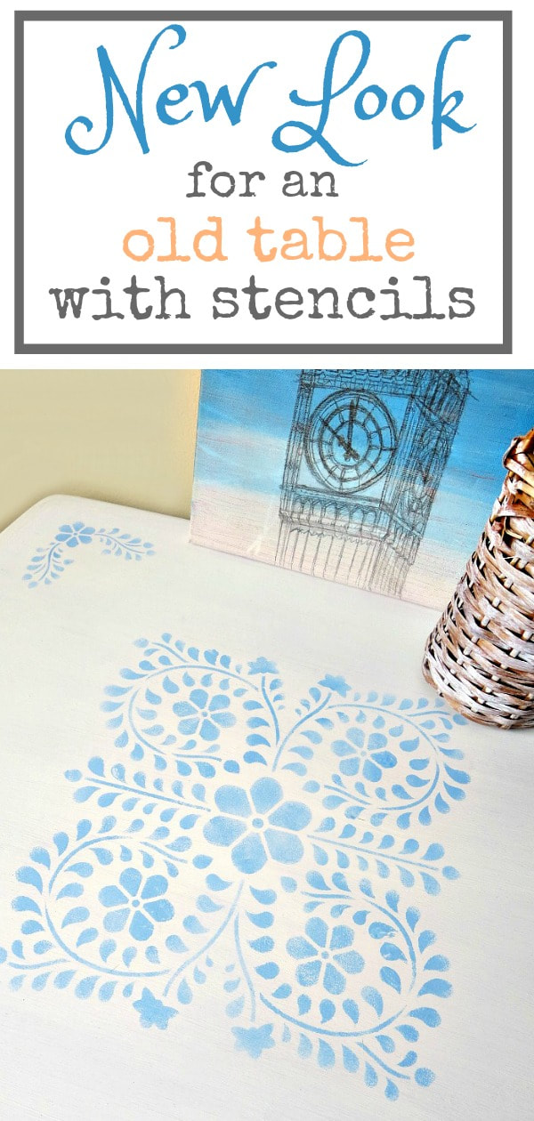 Giving a new look to your old table is so easy with stencils, #Farmhousetable #stencilmakeover #floralstencil #upcycledfurniture How to Give your Old Table a New Look with Stencils, the boondocksblog.com