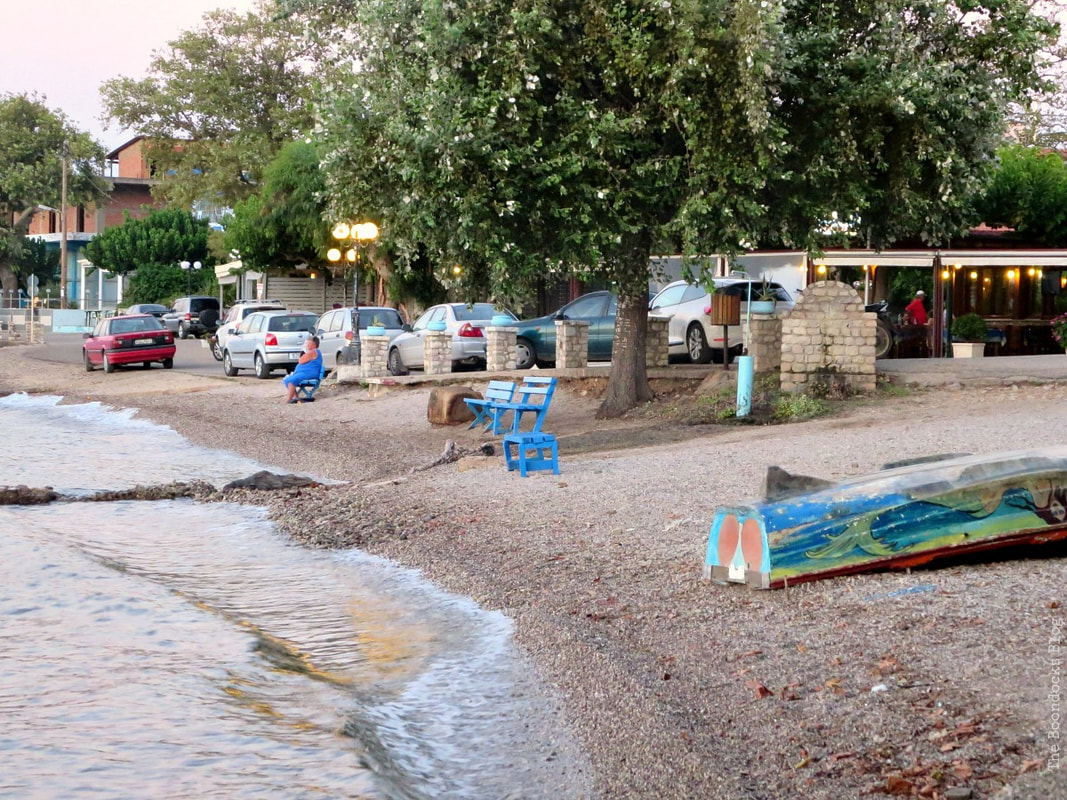 beach front leading to road, A different look at the beach in Beautiful Greece www.theboondocksblog.com