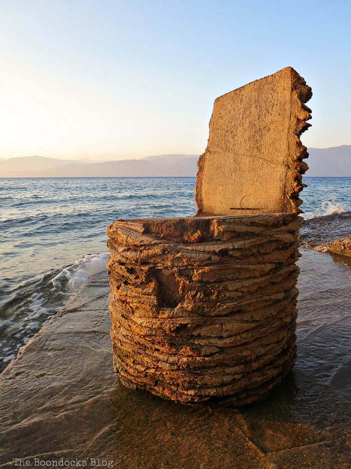 chair carved out of a tree trunk, A different look at the beach in Beautiful Greece www.theboondocksblog.com