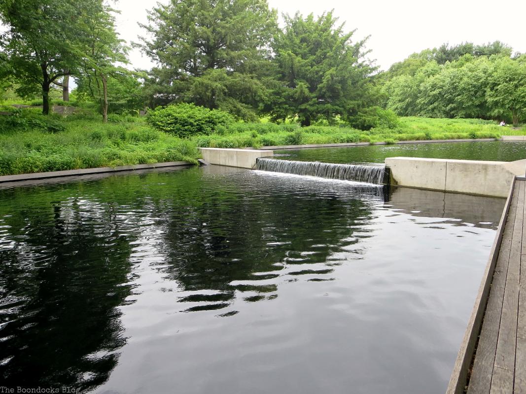 waterfall in pond, The Greatest Botanical Garden in the World, www.theboondocksblog.com