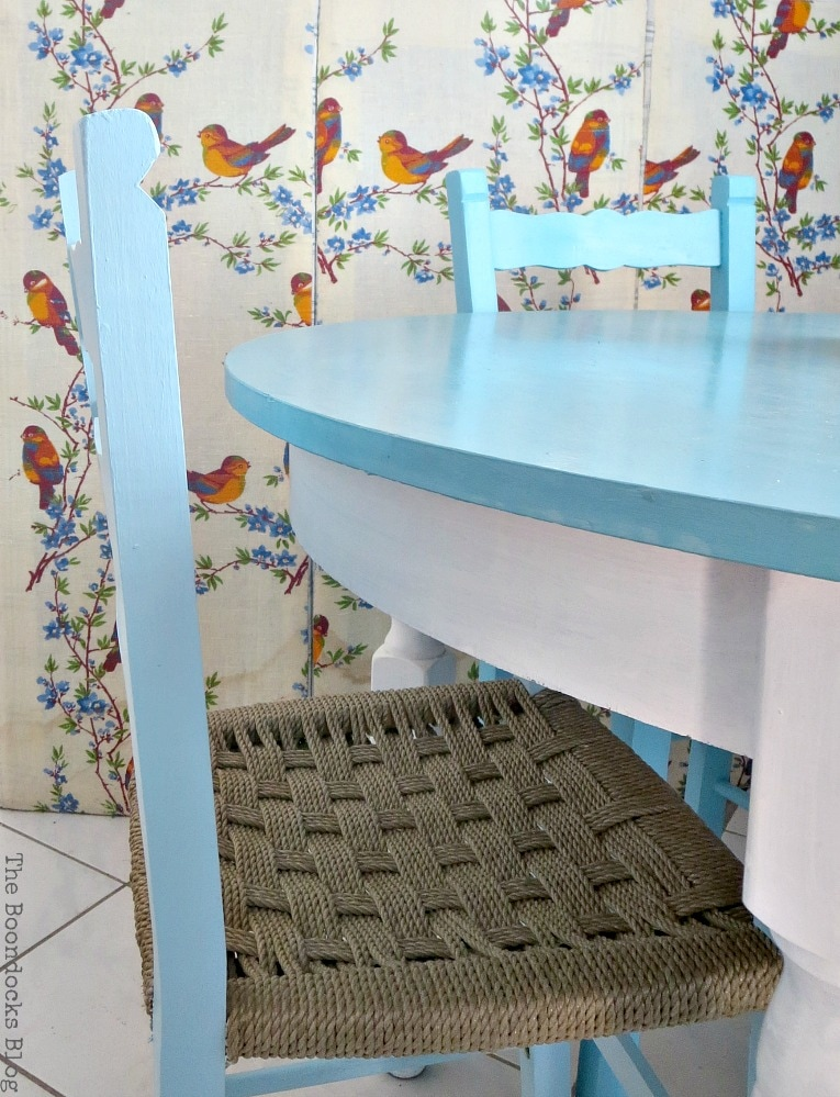 chairs and table in shades of blue, The tale of the Happy Chairs, www.theboondocksblog.com
