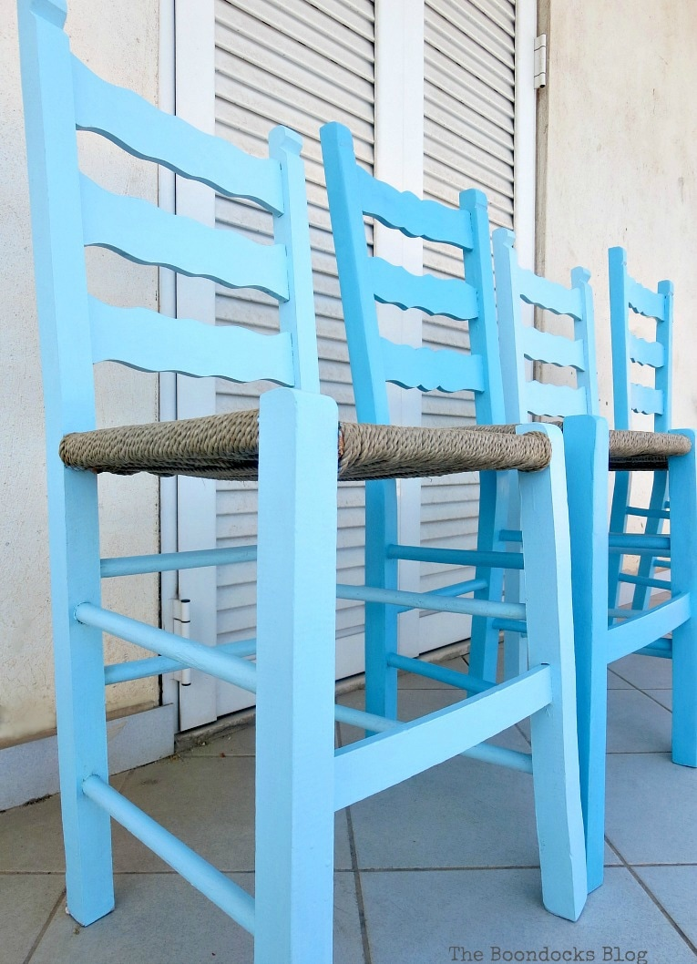 four chairs painted in shades of blue, The tale of the Happy Chairs, www.theboondocksblog.com