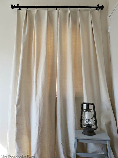 Drop cloth curtains with pleats