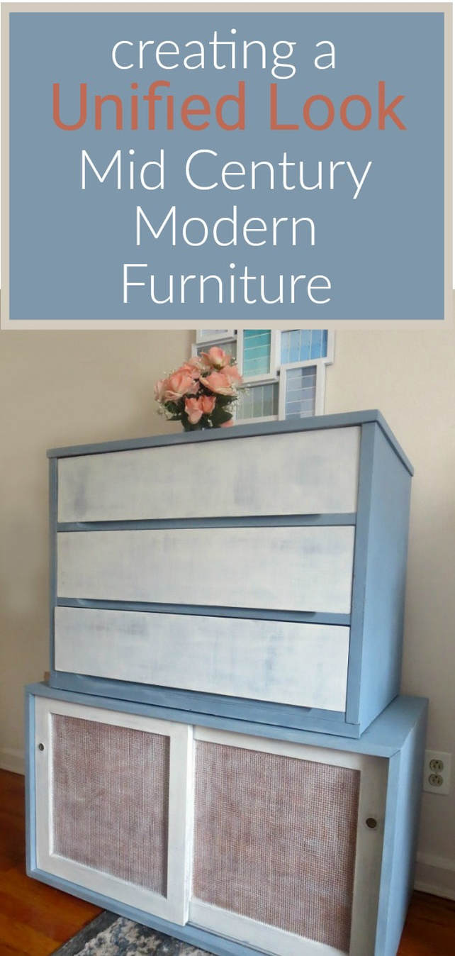 MCM dresser and sideboard in white and slate, #DIYproject #Midcenturymodernfurniture #MCMfurniture #paintedfurniture #oldfashionedmilkpaint #milkpaint How to Pair MCM Furniture to Get One Unified Look www.theboondocksblog.com