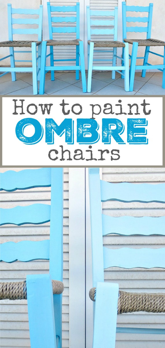 Chairs painted in shades of blue with chalky type paint, to make them ombre happy, #ombreeffect #paintedombre #furnituremakeover #upcycle #chalkyfinishpaint #paintedchairs #bluechairs #DIYproject The tale of the Happy Chairs