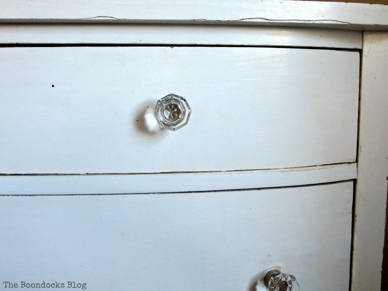 Glass knobs, How to Make your Dresser Sparkle with Age www.theboondocksblog.com