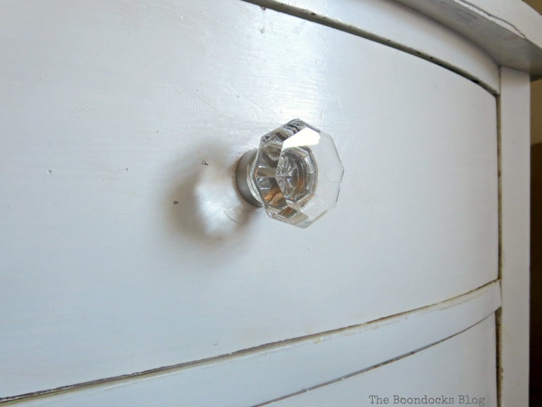 glass knob with nickel base, How to Make your Dresser Sparkle with Age www.theboondocksblog.com